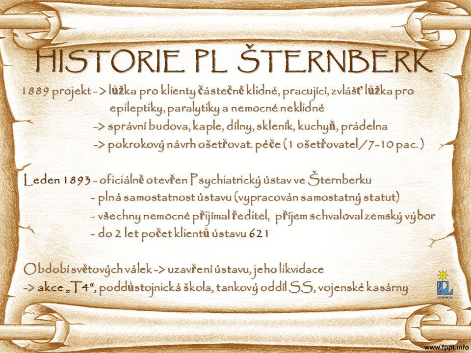 HISTORIE PL ŠTERNBERK 1889 projekt - > lůžka pro klienty částečně klidné, pracující, zvlášť lůžka pro.