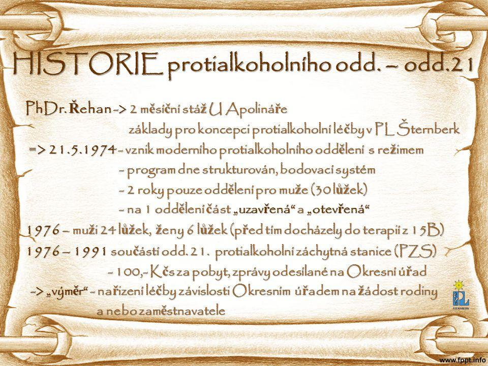 HISTORIE protialkoholního odd. – odd.21
