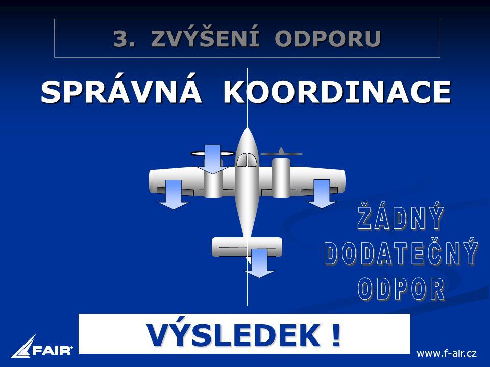SPRÁVNÁ KOORDINACE ŽÁDNÝ DODATEČNÝ ODPOR VÝSLEDEK ! 3. ZVÝŠENÍ ODPORU