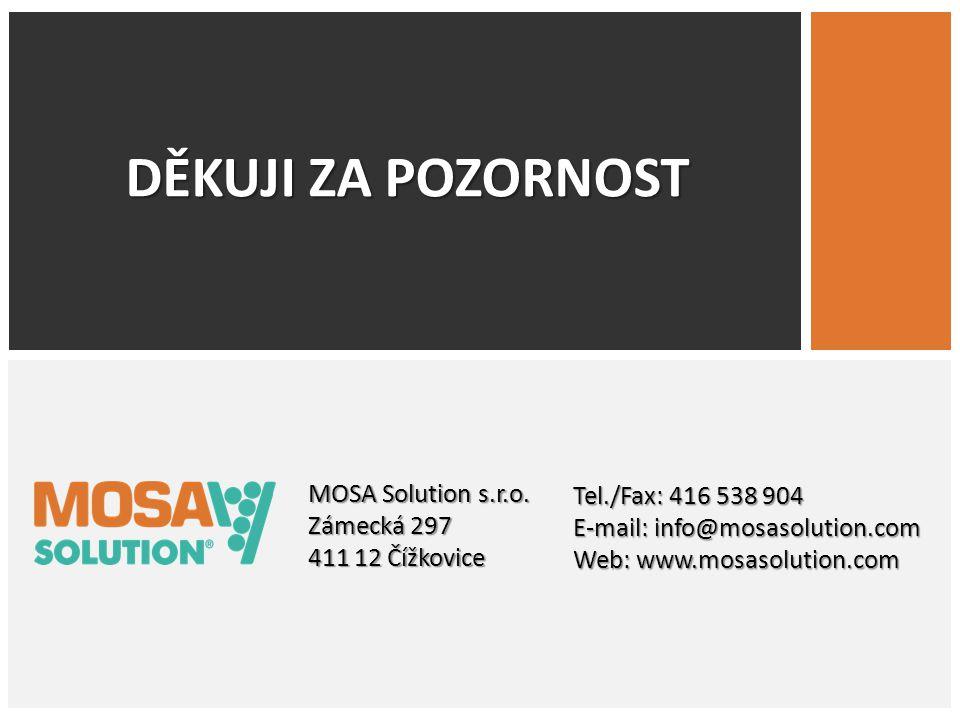 DĚKUJI ZA POZORNOST Tel./Fax: 416 538 904 MOSA Solution s.r.o.