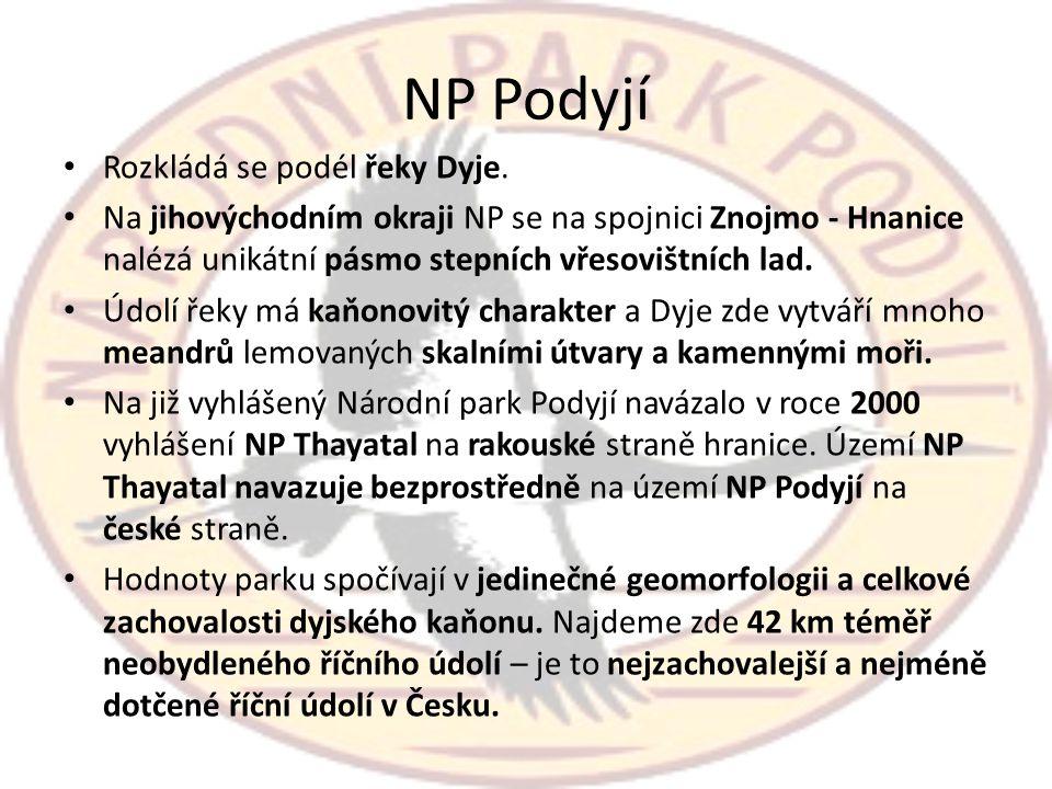 NP Podyjí Rozkládá se podél řeky Dyje.