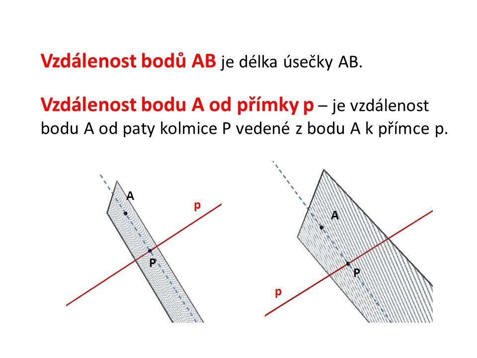 Vzdálenost bodů AB je délka úsečky AB.