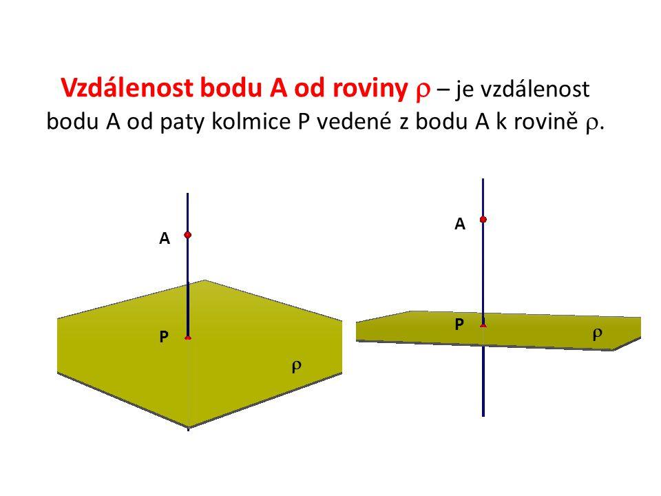 Vzdálenost bodu A od roviny  – je vzdálenost bodu A od paty kolmice P vedené z bodu A k rovině .
