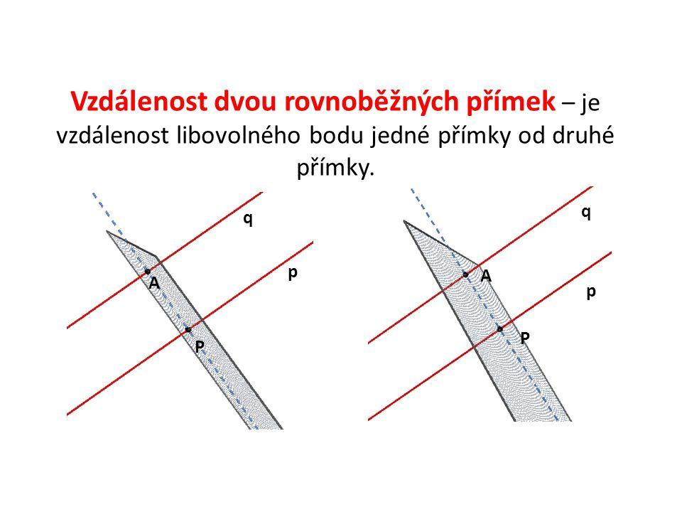 Vzdálenost dvou rovnoběžných přímek – je vzdálenost libovolného bodu jedné přímky od druhé přímky.