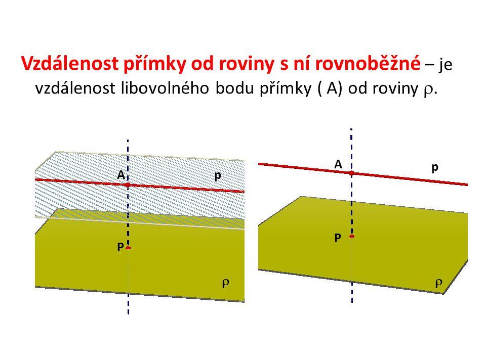 Vzdálenost přímky od roviny s ní rovnoběžné – je vzdálenost libovolného bodu přímky ( A) od roviny .