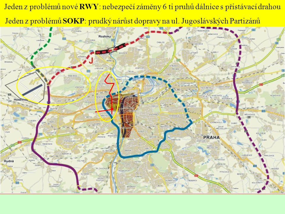 Jeden z problémů nové RWY: nebezpečí záměny 6 ti pruhů dálnice s přistávací drahou