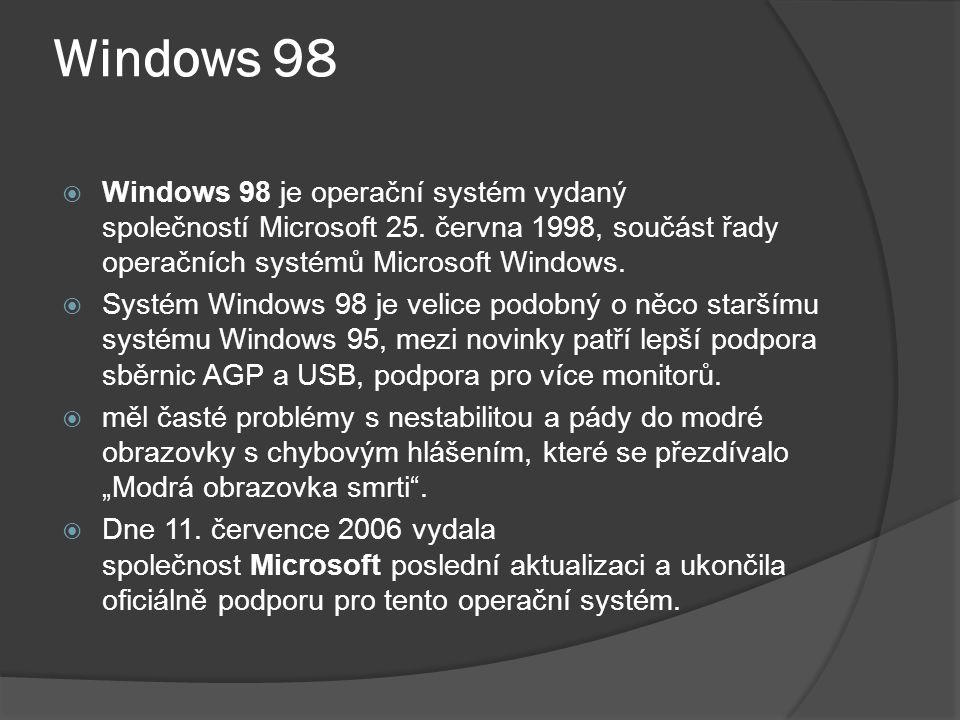 Windows 98 Windows 98 je operační systém vydaný společností Microsoft 25. června 1998, součást řady operačních systémů Microsoft Windows.