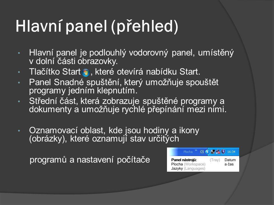 Hlavní panel (přehled)