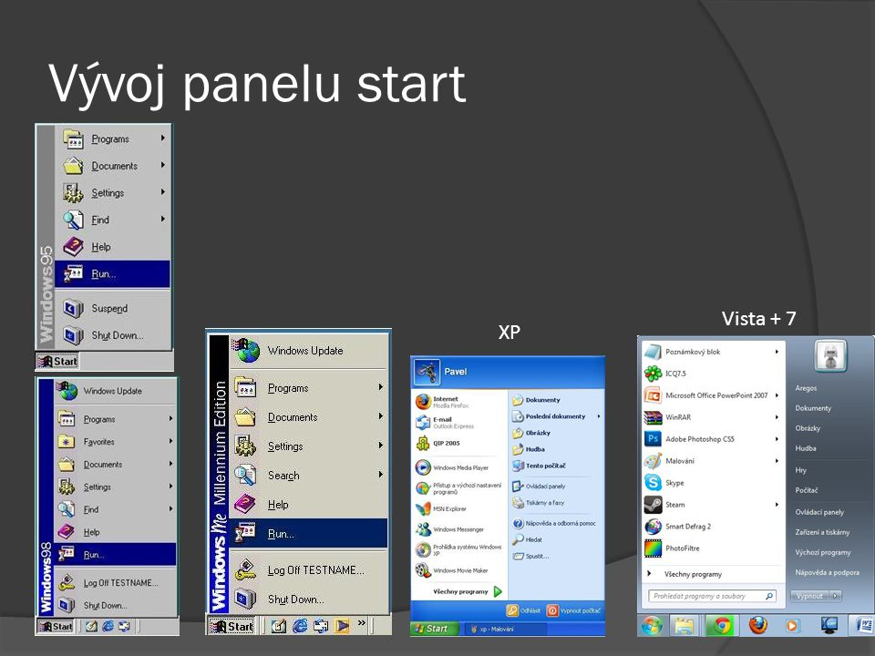 Vývoj panelu start Vista + 7 XP