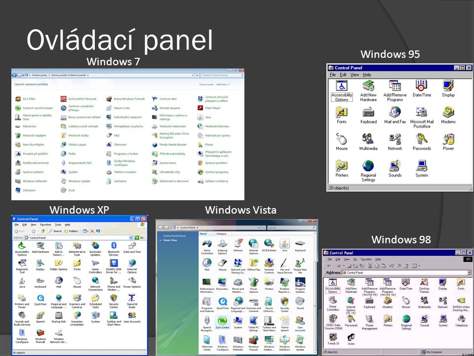 Ovládací panel Windows 95 Windows 7 Windows XP Windows Vista