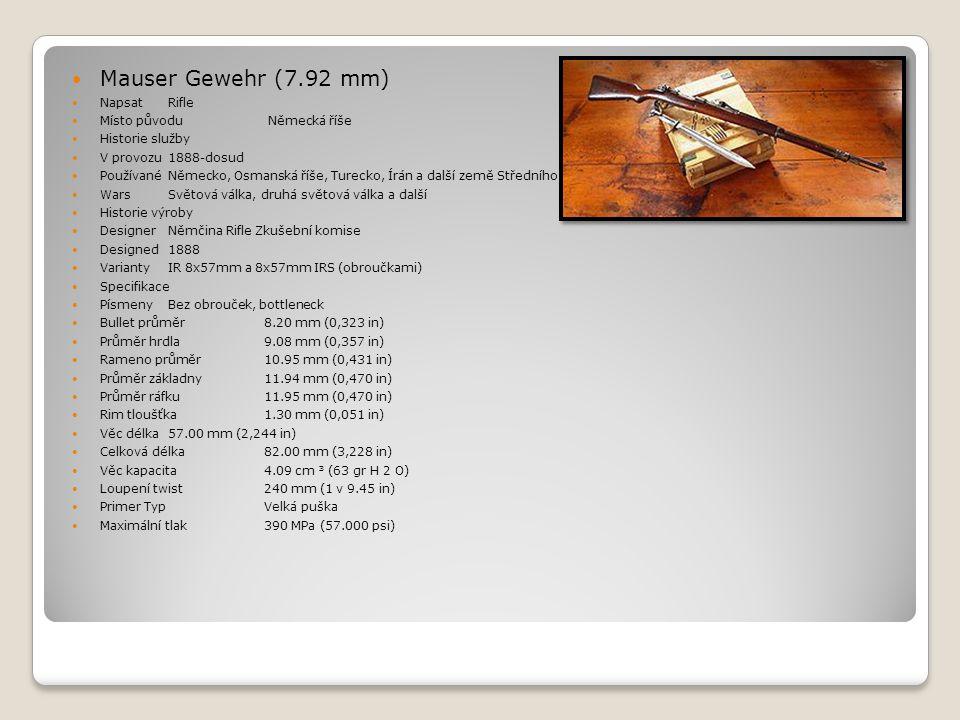 Mauser Gewehr (7.92 mm) Napsat Rifle Místo původu Německá říše