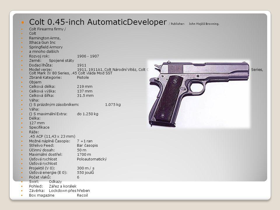 Colt 0.45-inch AutomaticDeveloper / Publisher: John Mojžíš Browning,