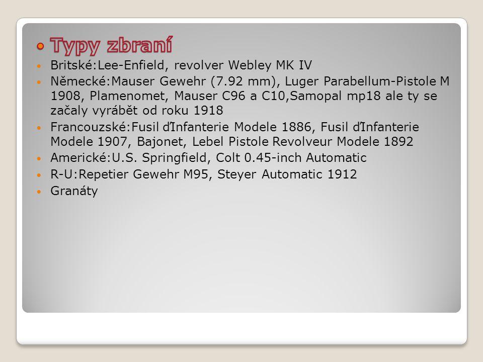 Typy zbraní Britské:Lee-Enfield, revolver Webley MK IV