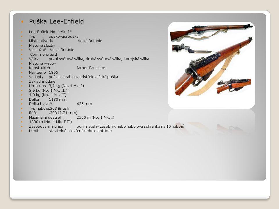 Puška Lee-Enfield Lee-Enfield No. 4 Mk. I* Typ opakovací puška