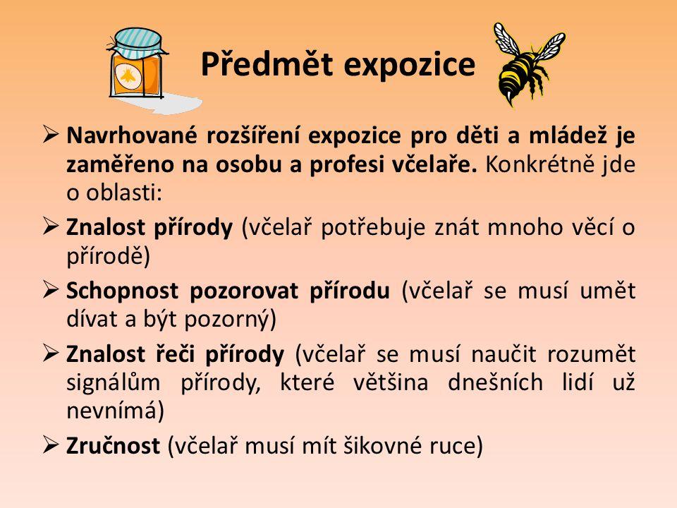 Předmět expozice Navrhované rozšíření expozice pro děti a mládež je zaměřeno na osobu a profesi včelaře. Konkrétně jde o oblasti: