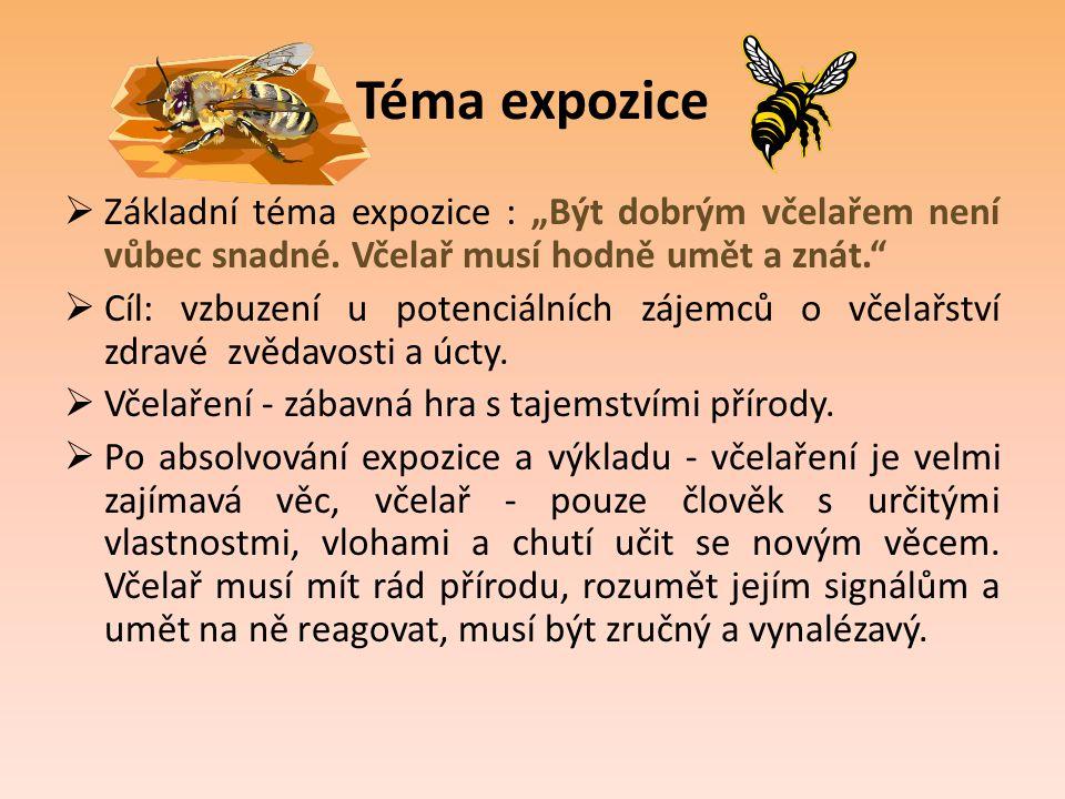 """Téma expozice Základní téma expozice : """"Být dobrým včelařem není vůbec snadné. Včelař musí hodně umět a znát."""