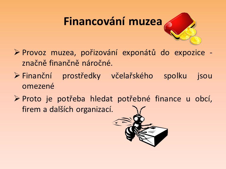 Financování muzea Provoz muzea, pořizování exponátů do expozice - značně finančně náročné. Finanční prostředky včelařského spolku jsou omezené.