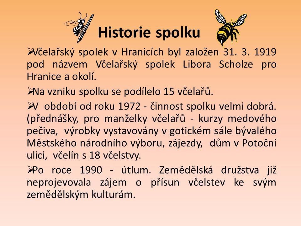 Historie spolku Včelařský spolek v Hranicích byl založen 31. 3. 1919 pod názvem Včelařský spolek Libora Scholze pro Hranice a okolí.