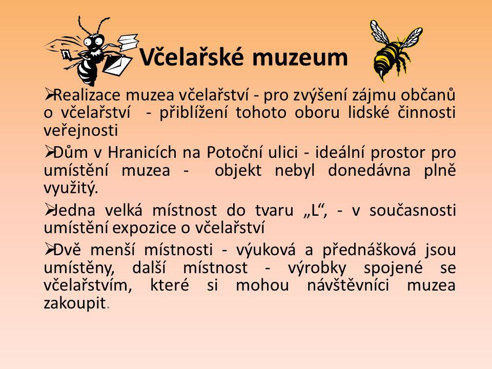 Včelařské muzeum Realizace muzea včelařství - pro zvýšení zájmu občanů o včelařství - přiblížení tohoto oboru lidské činnosti veřejnosti.