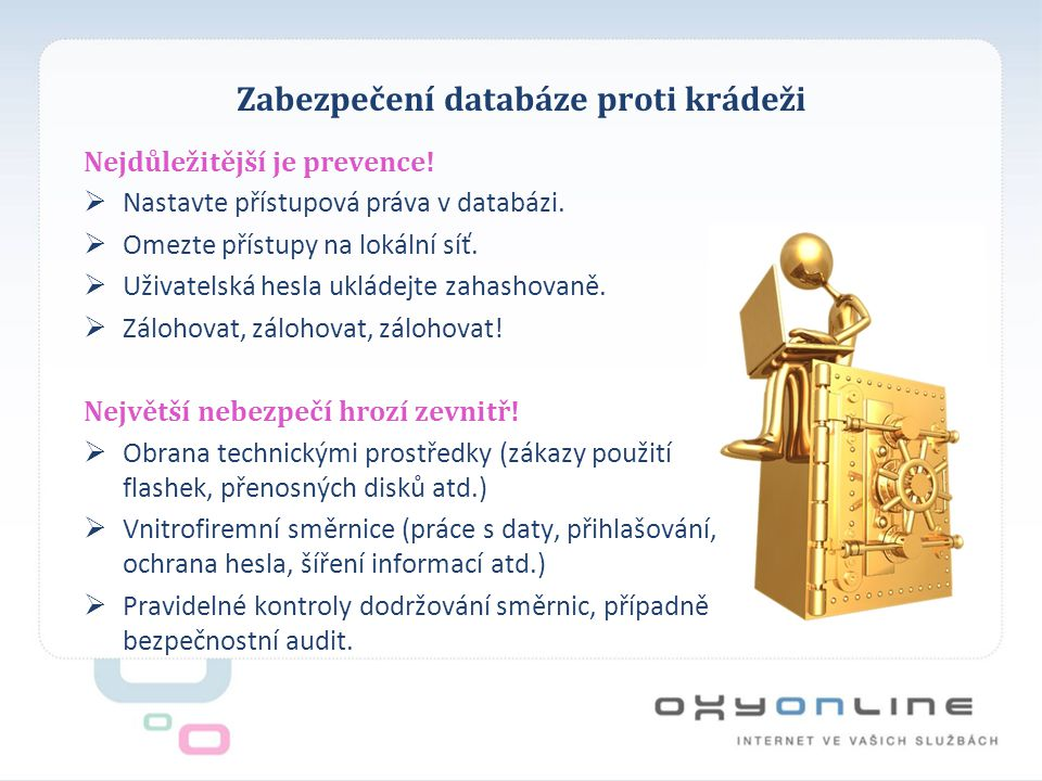 Zabezpečení databáze proti krádeži