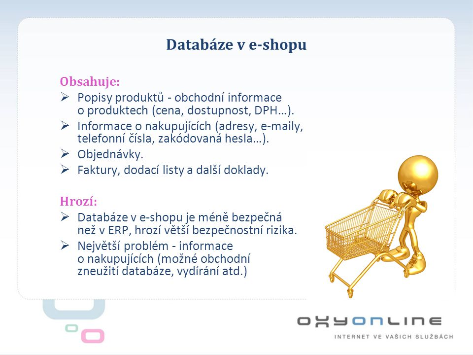 Databáze v e-shopu Obsahuje: