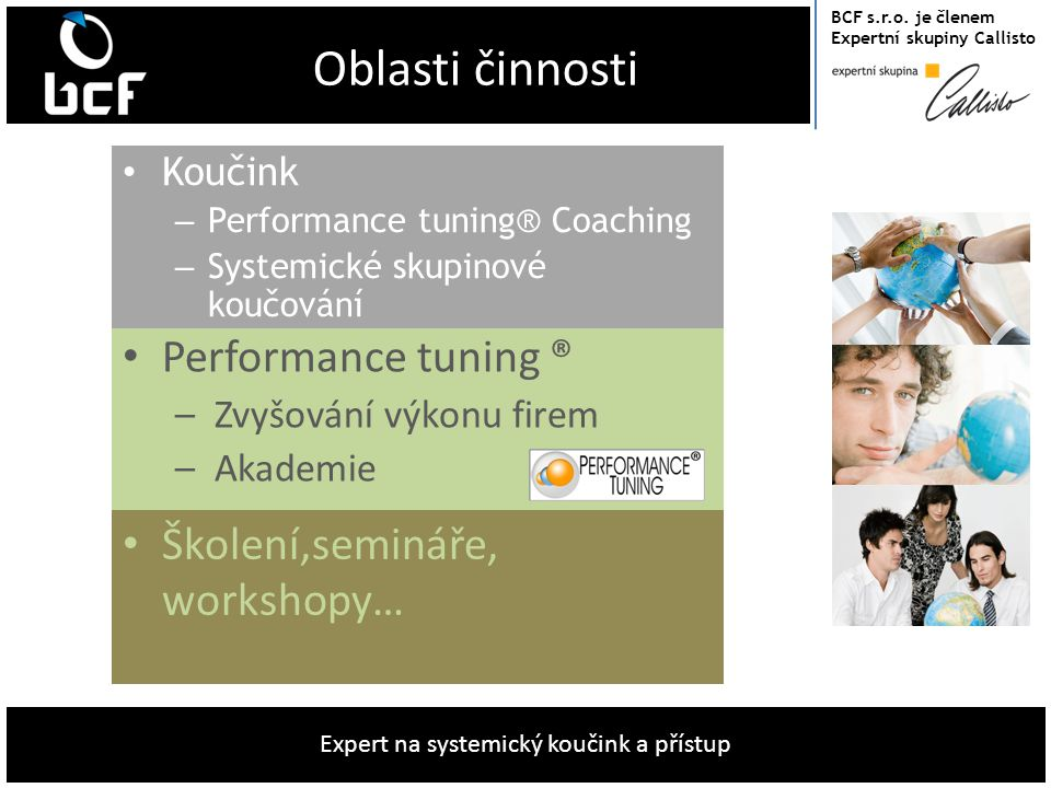 Oblasti činnosti Performance tuning ® Školení,semináře, workshopy…