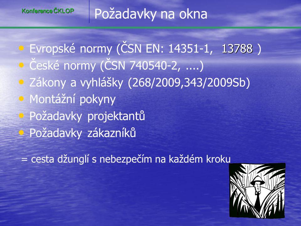 Požadavky na okna Evropské normy (ČSN EN: 14351-1, 13788 )