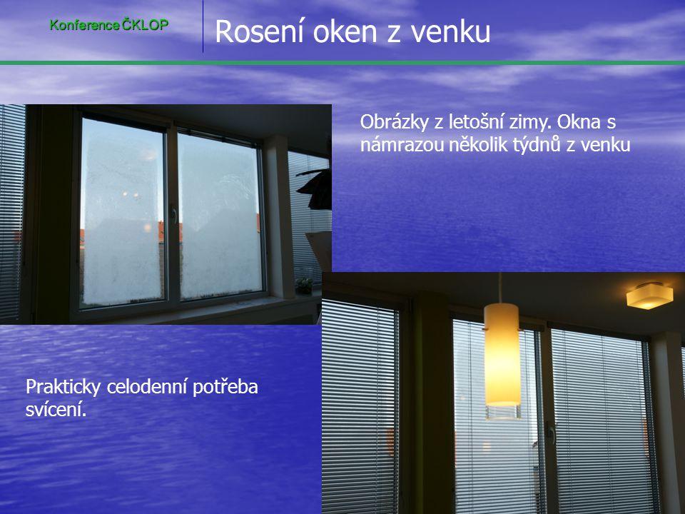 Konference ČKLOP Rosení oken z venku. Obrázky z letošní zimy. Okna s námrazou několik týdnů z venku.