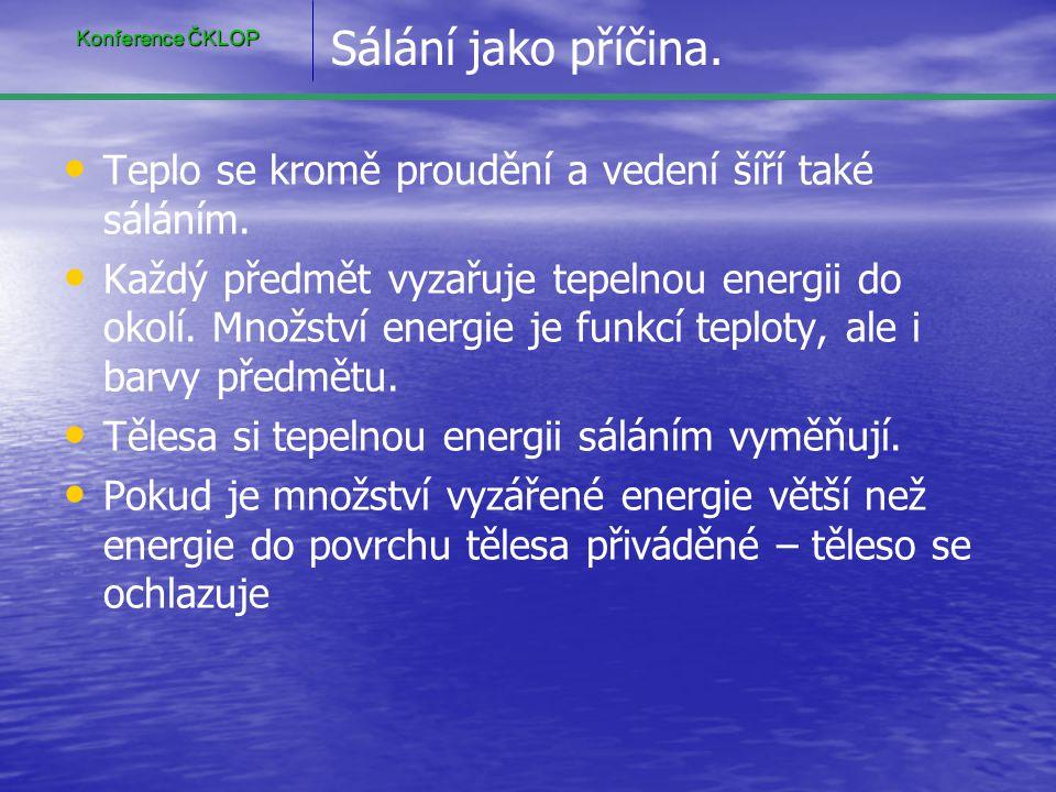 Konference ČKLOP Sálání jako příčina. Teplo se kromě proudění a vedení šíří také sáláním.