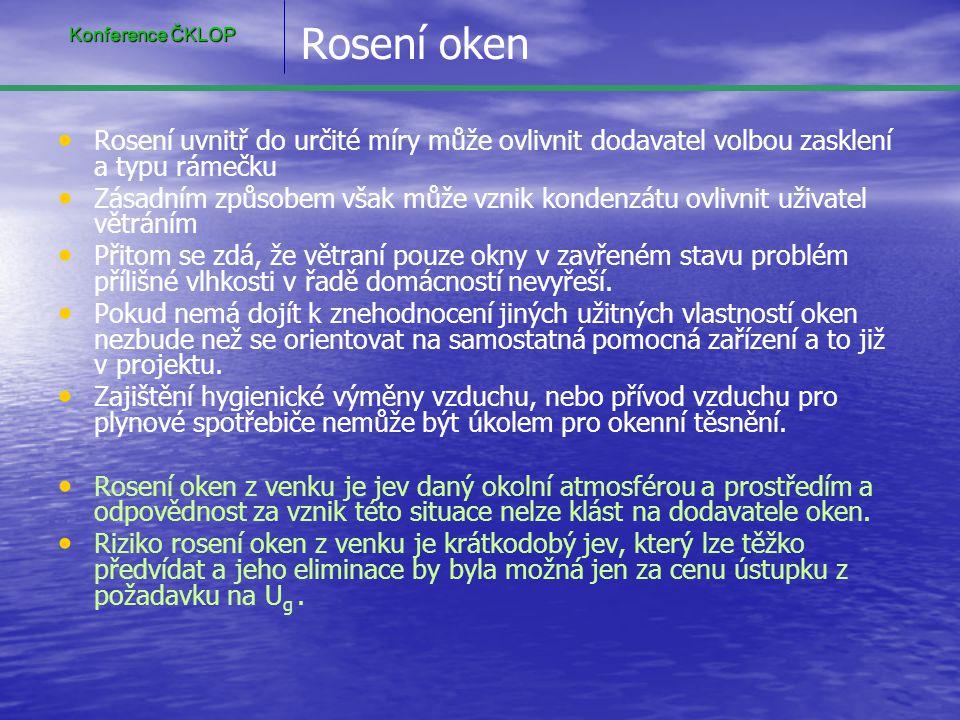 Konference ČKLOP Rosení oken. Rosení uvnitř do určité míry může ovlivnit dodavatel volbou zasklení a typu rámečku.