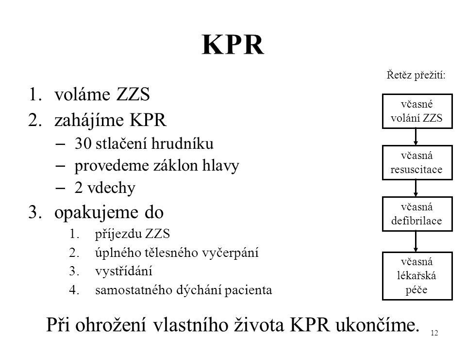 Při ohrožení vlastního života KPR ukončíme.