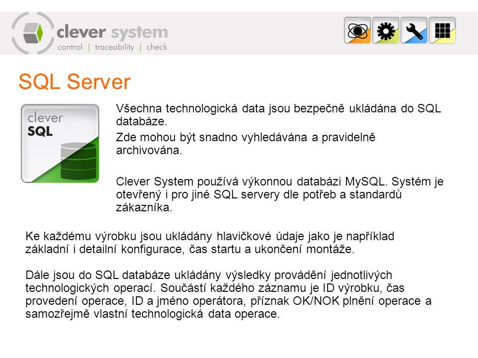 SQL Server Všechna technologická data jsou bezpečně ukládána do SQL databáze. Zde mohou být snadno vyhledávána a pravidelně archivována.