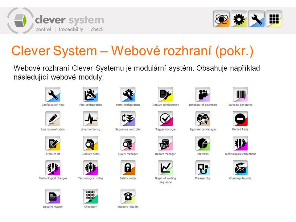 Clever System – Webové rozhraní (pokr.)