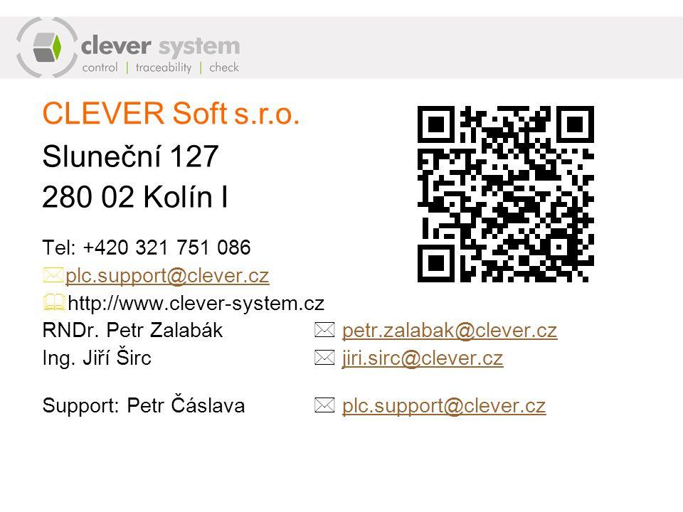 CLEVER Soft s.r.o. Sluneční 127 280 02 Kolín I Tel: +420 321 751 086