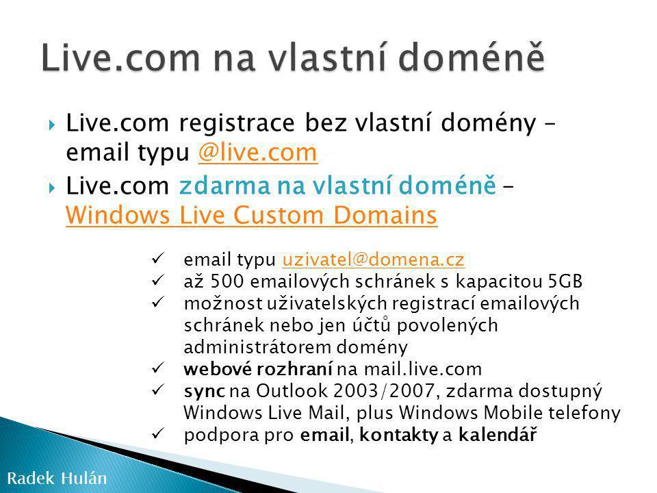 Live.com na vlastní doméně