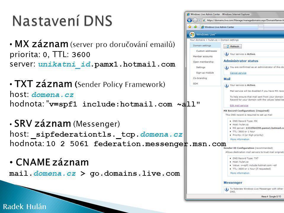 Nastavení DNS CNAME záznam mail.domena.cz > go.domains.live.com