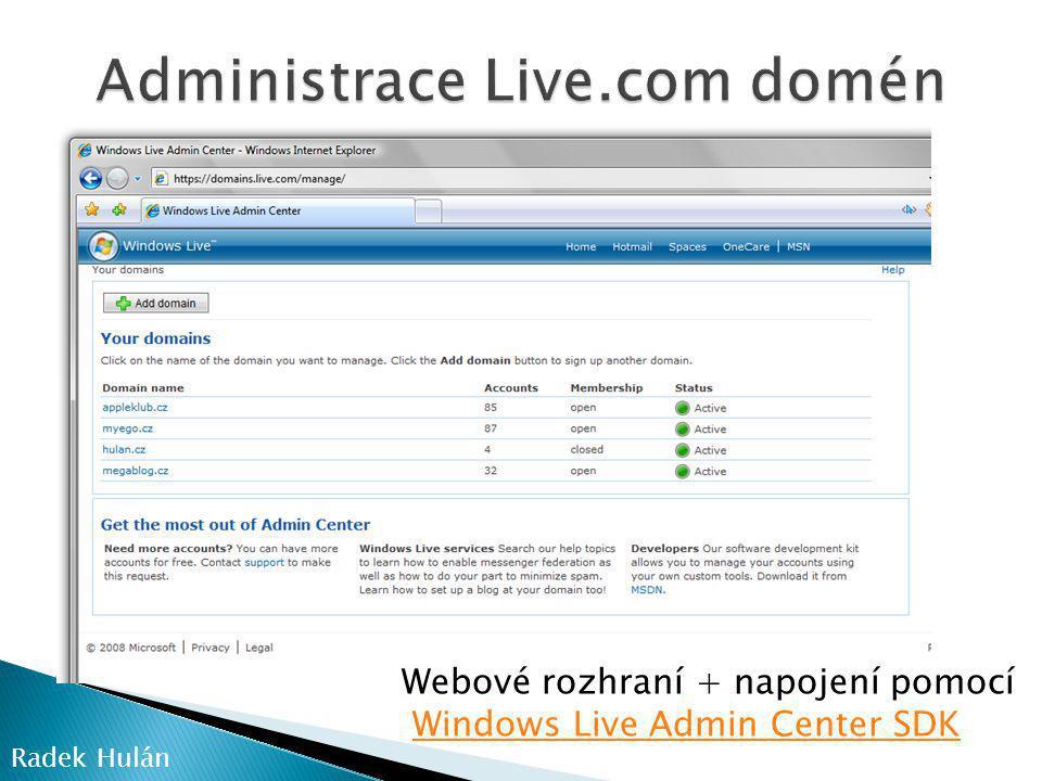 Administrace Live.com domén