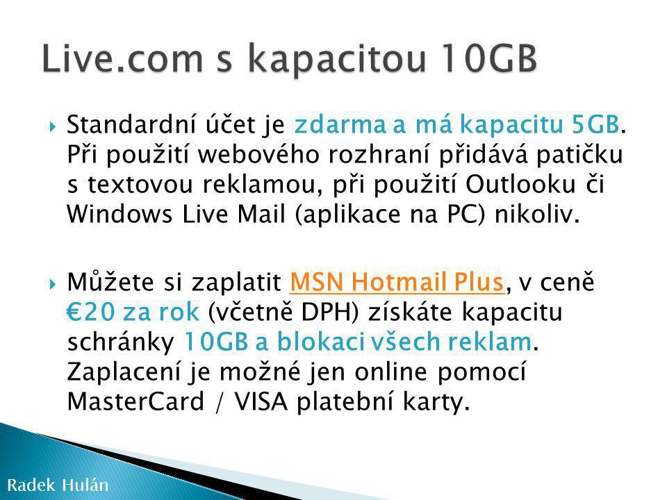 Live.com s kapacitou 10GB