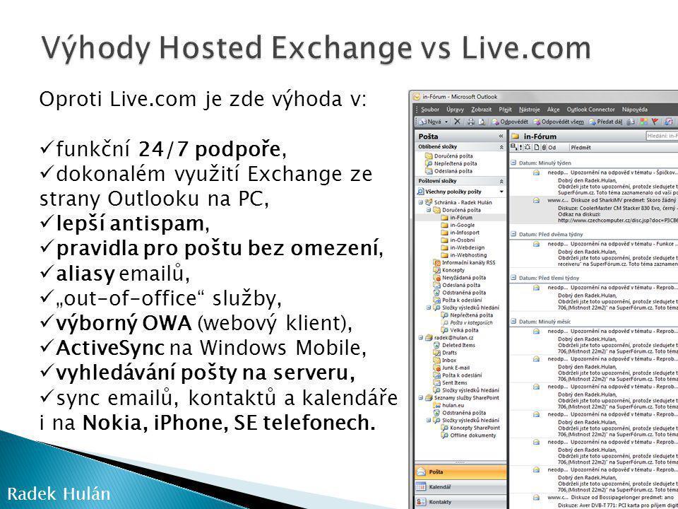 Výhody Hosted Exchange vs Live.com
