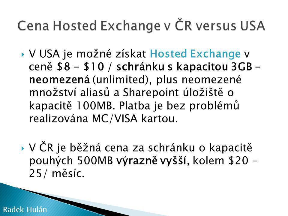 Cena Hosted Exchange v ČR versus USA