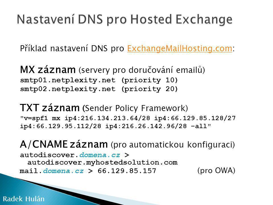 Nastavení DNS pro Hosted Exchange