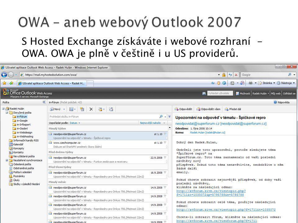 OWA – aneb webový Outlook 2007