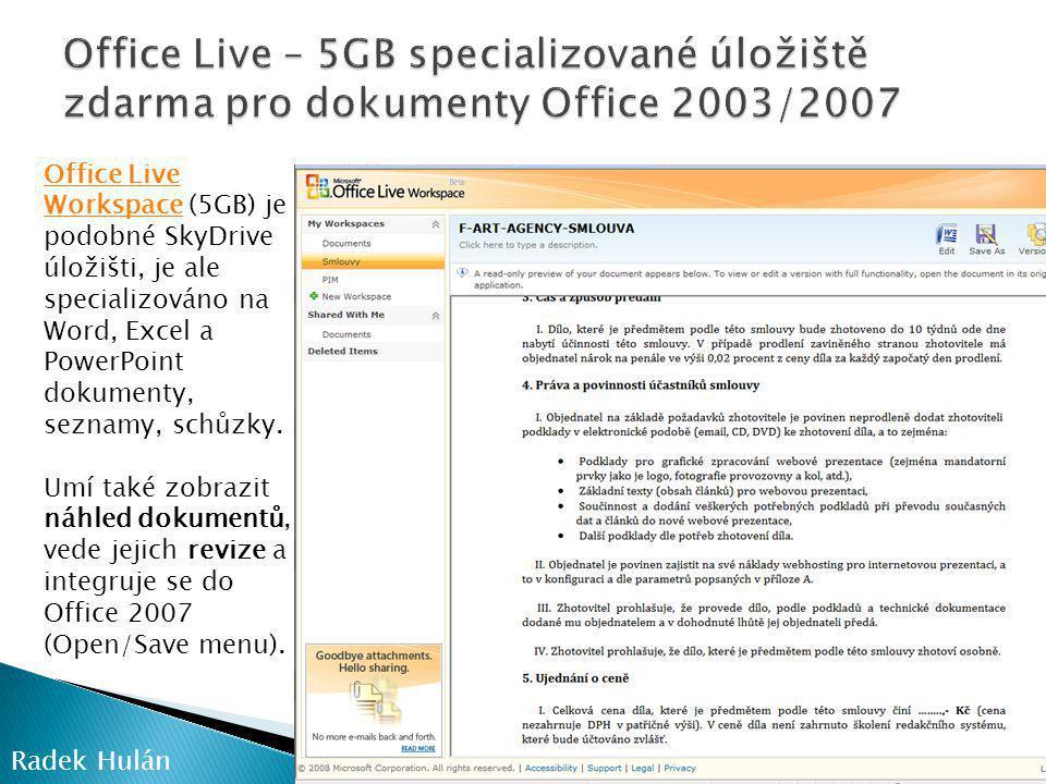 Office Live – 5GB specializované úložiště zdarma pro dokumenty Office 2003/2007