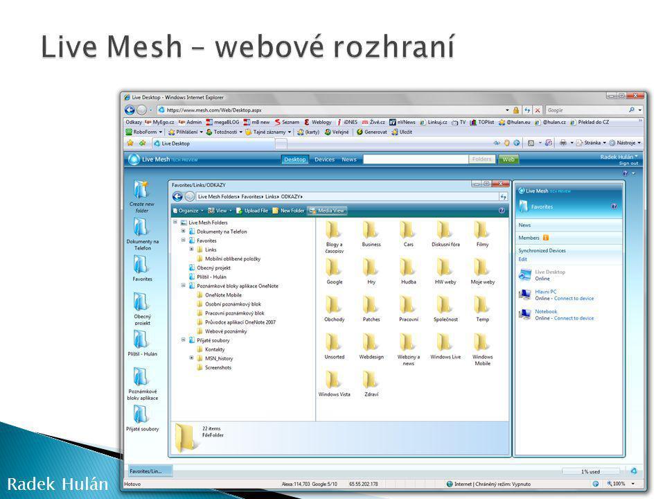 Live Mesh – webové rozhraní