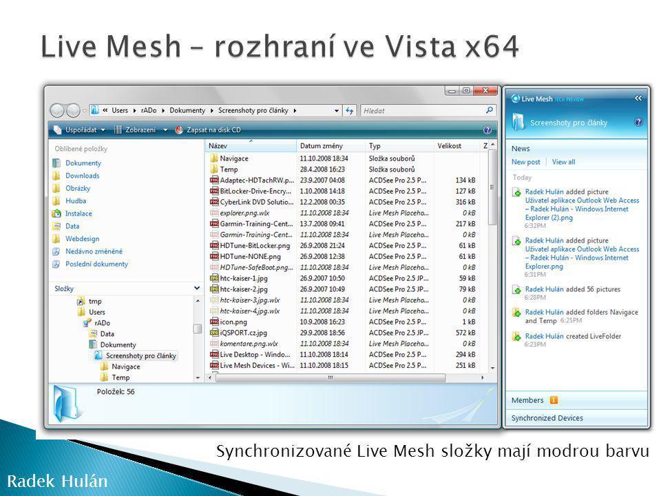 Live Mesh – rozhraní ve Vista x64
