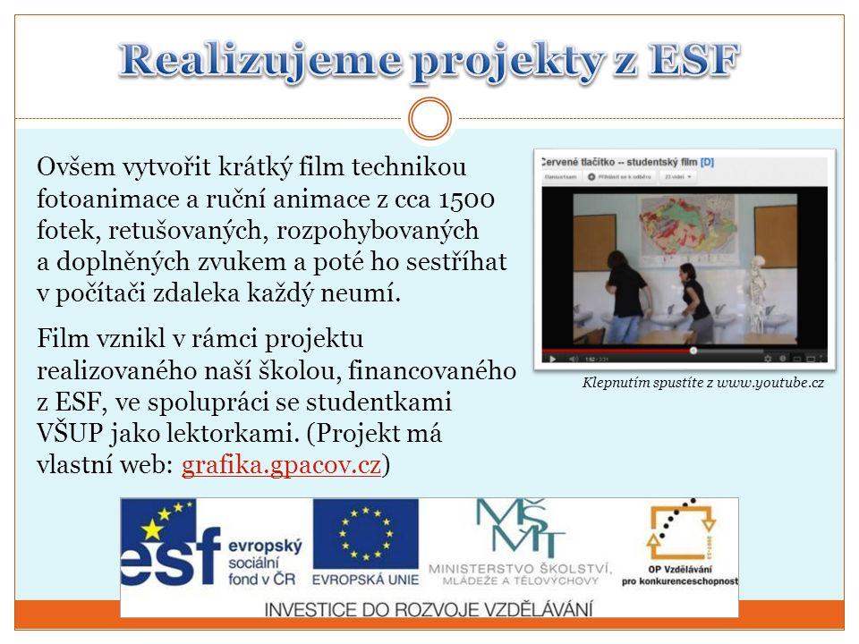 Realizujeme projekty z ESF