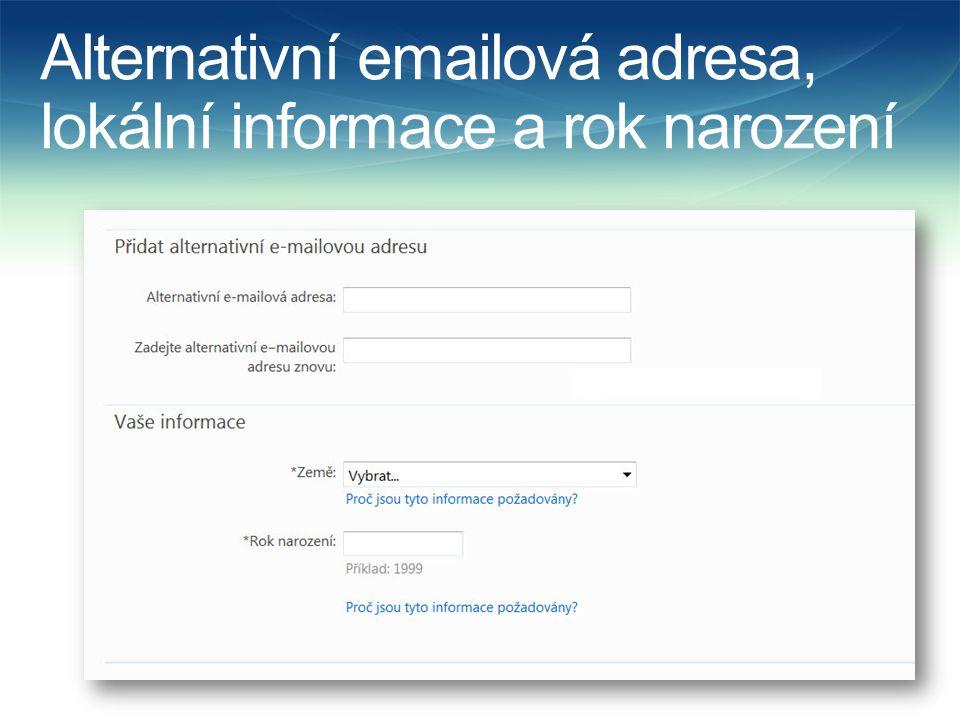 Alternativní emailová adresa, lokální informace a rok narození