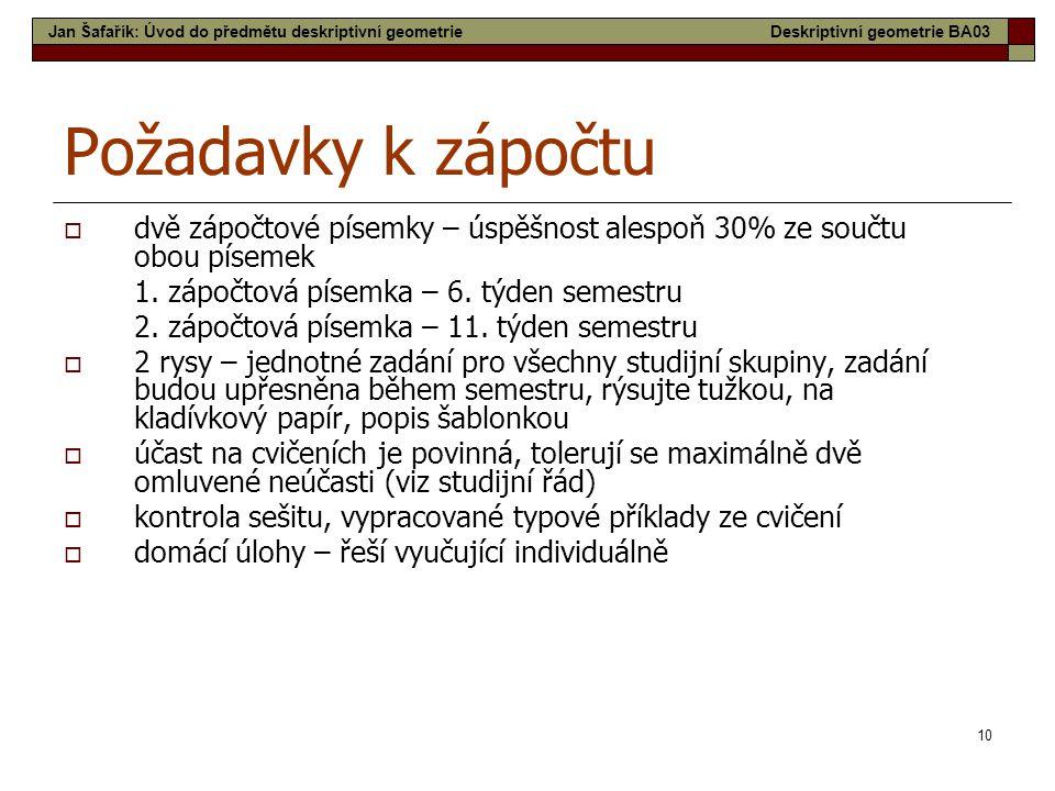 Jan Šafařík: Úvod do předmětu deskriptivní geometrie