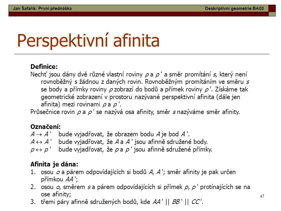 Perspektivní afinita Definice:
