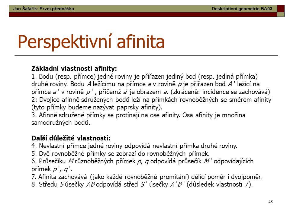 Perspektivní afinita Základní vlastnosti afinity: